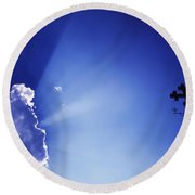 Rays Of Sunshine With Cloud And Cross Round Beach Towel