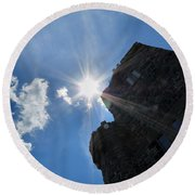 Rays On The Castle Round Beach Towel