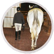 Ready For The Dressage Lesson Round Beach Towel