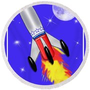 Really Cool Rocket In Space Round Beach Towel