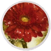 Really Red Posey Round Beach Towel