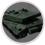 Rear View Of A British Challenger II Round Beach Towel by Rhys Taylor