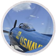 Rear View Of A F8f Bearcat Parked Round Beach Towel