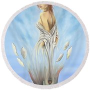 Rebirth Of A Woman - Ascension Round Beach Towel