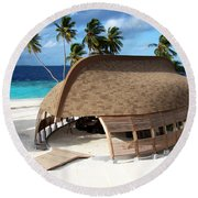 Reception Dhoni. Maldives Round Beach Towel