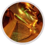 Reclining Buddha 2 Round Beach Towel