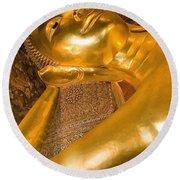 Reclining Buddha At Wat Pho, Low Angle Round Beach Towel