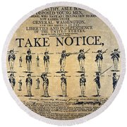 Recruiting Broadside, C1798 Round Beach Towel
