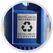 Recycling Bin Round Beach Towel by Photo Researchers, Inc.