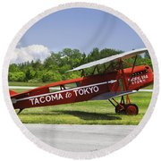 Red 1923 Fokker Civa Vintage Biplane Photo Poster Print Round Beach Towel