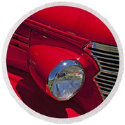 Red 1938 Chevy Coupe Round Beach Towel