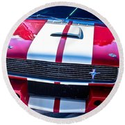 Red 1966 Mustang Shelby Round Beach Towel