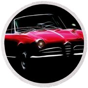 Red Alfa Romeo 1600 Giulia Spider Round Beach Towel
