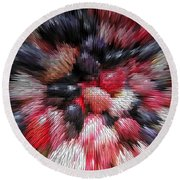 Red And Black Explosion #01 Round Beach Towel