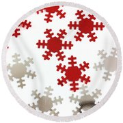 Red And Silver Snowflakes Round Beach Towel