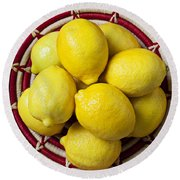 Red And White Basket Full Of Lemons Round Beach Towel