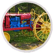 Red And Yellow Tractor Round Beach Towel