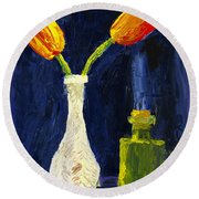 Red And Yellow Tulips In Vase Abstract Palette Knife Painting Round Beach Towel