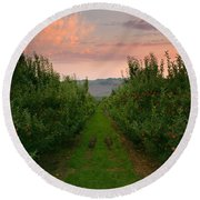 Red Apple Sunset Round Beach Towel