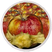 Red Apples And Core Round Beach Towel