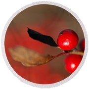 Red As A Winterberry Round Beach Towel