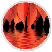 Red Autumn Leaves In Water Round Beach Towel