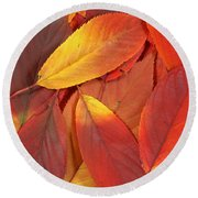 Red Autumn Leaves Pile Round Beach Towel