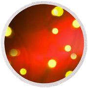 Red Background With Gold Dots Round Beach Towel