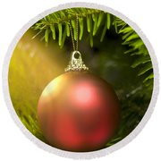 Red Ball In A Real Caucasian Fir Christmas Tree Round Beach Towel