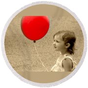 Red Baloon Round Beach Towel