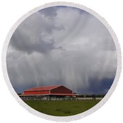 Red Barn And Stormy Sky Round Beach Towel