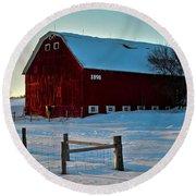 Red Barn In Winter ... Round Beach Towel