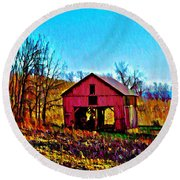 Red Barn On A Hillside Round Beach Towel