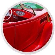 Red Beautiful Car Round Beach Towel