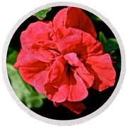Red Begonia Round Beach Towel