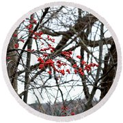 Red Berries White Sky Round Beach Towel