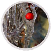 Red Berry In Icicle Round Beach Towel