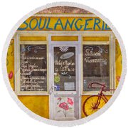 Red Bike At The Boulangerie Round Beach Towel