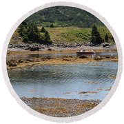 Red Boat Round Beach Towel