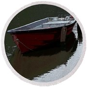 Red Boat In A Canal In The Netherlands Round Beach Towel