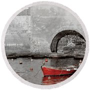 Red Boat In The Harbor At Vernazza Round Beach Towel