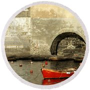 Red Boat In Vernazza Harbor On The Cinque Terre Round Beach Towel