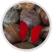 Red Butterfly On Rocks Round Beach Towel