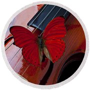 Red Butterfly On Violin Round Beach Towel
