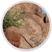 Red Cactus Rock Round Beach Towel