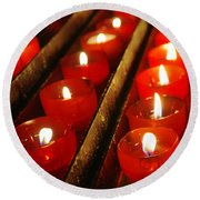 Red Candles Round Beach Towel