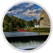 Red Canoes At The Boathouse Round Beach Towel by Paul Ward