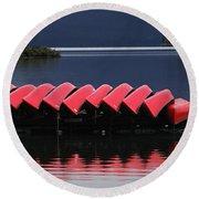 Red Canoes Maligne Lake Round Beach Towel
