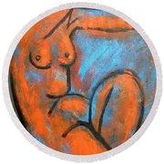 Red Caryatid - Nudes Gallery Round Beach Towel