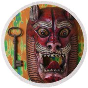 Red Cat Mask Round Beach Towel
